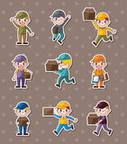 Express delivery people stickers Royalty Free Stock Photos