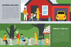 Express Delivery and Perfect Service flat concept web vector illustration. People, Deliveryman, Car. Pizzeria Bistro. Express Delivery and Perfect Service flat Stock Photography
