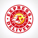 Express delivery pizza. Hot pizza express delivering vector logo. Fiery piece of cake in circle fastfood brand sign. Cafe, pizzeria, restaurant, lunch bar Stock Photos