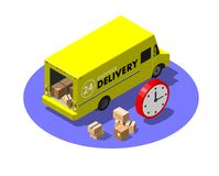 Express delivery service concept with yellow van and cardboard parcels. Modern isometric vector illustration Stock Photo