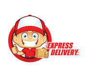 Express delivery service courier. Clipart picture of a express delivery service courier cartoon character Stock Photography