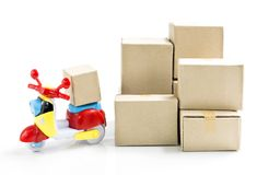 Express delivery service by motorcycle.Colorful motorcycle with. Lots of delivery boxes on white background with copy space for text royalty free stock photos