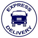 Express delivery stamp - truck silhouette Stock Photo