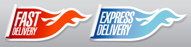 Express delivery stickers. Royalty Free Stock Images