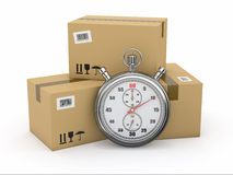 Express delivery. Stopwatch and package. Stock Images
