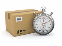 Express delivery. Stopwatch and package Royalty Free Stock Image