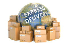 Express delivery and worldwide shipping concept, parcels with Ea Stock Images