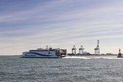 Express ferry leaving Aarhus, Denmark Stock Photography