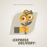 Express Flowers Delivery Symbols. Vector illustration. Royalty Free Stock Photo