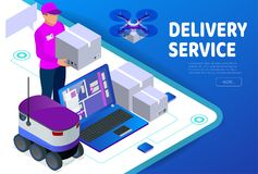 Express home delivery. Courier gives the woman a box. Shopping online. Free shipping, 24 hour delivery. Flat 3d vector. Isometric illustration. Worldwide Royalty Free Stock Photo
