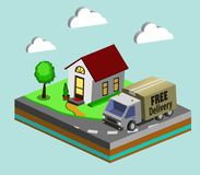Express home delivery. Courier gives the woman a box. Shopping online. Free shipping, 24 hour delivery. Flat 3d vector isometric illustration Royalty Free Stock Photography