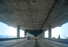 Express Lanes. Driving into downtown Seattle on a spring day Stock Photography