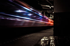 An express leaving Nakhon Ratchasima station, Thailand. Royalty Free Stock Images
