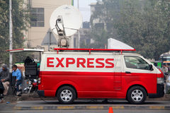 Express News Digital Satellite News Gathering DSNG Van Stock Images