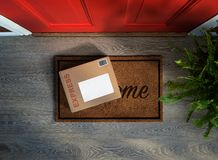 Free Express Parcel Delivery Outside Front Door. Stock Image - 154437281