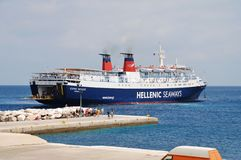 Express Pegasus, Alonissos island. Hellenic Seaways ferry Express Pegasus docking at Patitiri harbour on the Greek island of Alonissos on June 27, 2013. The 125 Stock Image