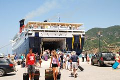 Express Pegasus, Skopelos. Hellenic Seaways ferry Express Pegasus disembarks passengers at Skopelos Town harbour on the Greek island of Skopelos on June 24, 2013 Royalty Free Stock Images
