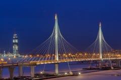 Free Express Roads Crosses River Icebound, Guyed Bridge At Night Lighting. Royalty Free Stock Photos - 83827908