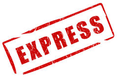 Express stamp. On white Stock Photo