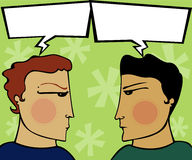 Express Tension. Two guys have a heated discussion - arguing with empty speech bubbles (for you to fill Stock Images