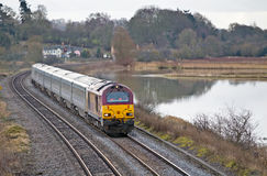 Express train during floods Stock Photography