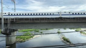 Express train in Himeji, Japan. An express train travels through Himeji, Japan stock video
