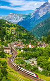 Express train at the old Gotthard railway - Switzerland Royalty Free Stock Photography