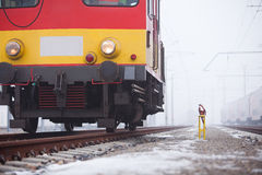 Express train on rails Stock Photo