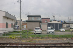 express train view of  Sapporo and Asahikawa Stock Photos