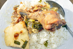 EXPRESS VEGETABLE SAUCE. Rice with chicken vegetable sauce which is very practical in the evenings of great fatigue, allowing to eat vegetables without spending royalty free stock images