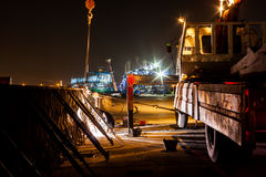 Express way construction site at night Stock Image