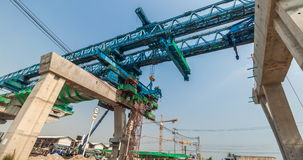 Express way construction site with traffic on road stock video