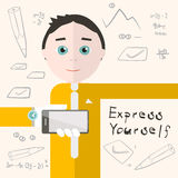 Express Yourself Vector Illustration with Man Stock Image
