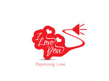 Expressando o projeto de conceito do amor no fundo branco Fotos de Stock Royalty Free