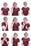 Expressões faciais da rainha feia engraçada da senhora idosa drama Fotografia de Stock Royalty Free