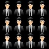 Expressões faciais de homem de negócio Imagens de Stock