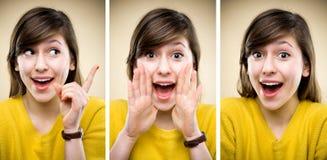 Expressões faciais de mulher nova Fotos de Stock Royalty Free
