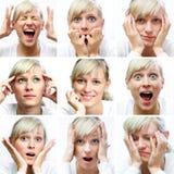 Expressões faciais diferentes Foto de Stock Royalty Free