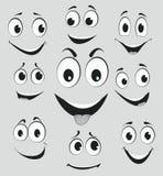 Expressões faciais, emoções da cara dos desenhos animados Fotografia de Stock Royalty Free
