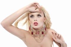 Expressief blond meisje Stock Foto's