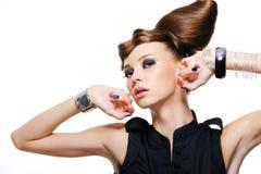Expressief mooi meisje Stock Foto