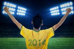 Expressieve Braziliaanse ventilators bij stadion stock fotografie