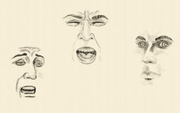 Expressieve gezichten Stock Fotografie