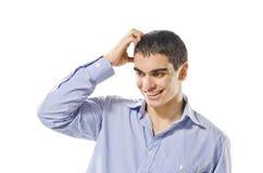 Expressieve jonge die mens op witte achtergrond wordt geïsoleerd Royalty-vrije Stock Foto's