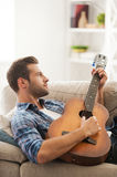 Expressing himself by music. royalty free stock photo