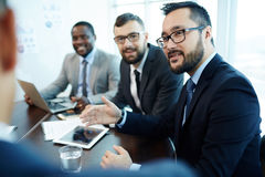 Expressing Point of View during Business Meeting Stock Photos