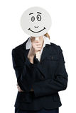 Expressing positivity. Businesswoman hiding her face behind mask isolated on white stock photos