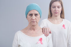 Expressing support for woman with breast cancer Stock Images