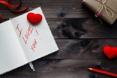Expression au sujet de l'amour écrit dans le carnet Photographie stock