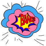 Expression bubble with bang pop art style. Comic book style. Vector illustration, sound effects BANG. stock illustration